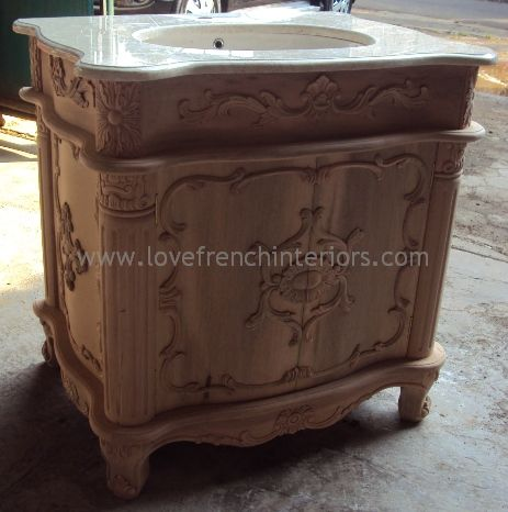 A Bespoke Sink Vanity Unit with Solid Marble Top - Bespoke Sink Vanity Unit With Solid Marble Top
